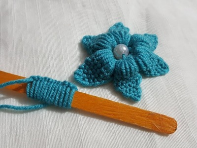 Hand Embroidery ice Cream Stick Trick Hack Making Beautiful Flower#125