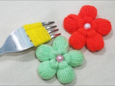 Hand Embroidery:Wow Amazing #Sewing Hack Trick Making Fluffy flower With Fork,Easy Flower Trick