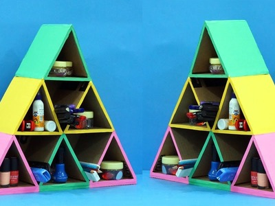 Pyramid Shaped Cardboard Organiser | Easy Best Out of Waste Cardboard Craft | StylEnrich