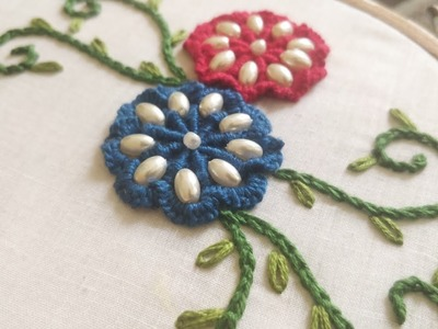 Spider Web Flower | Fancy Flower Embroidery (Hand Embroidery Work)