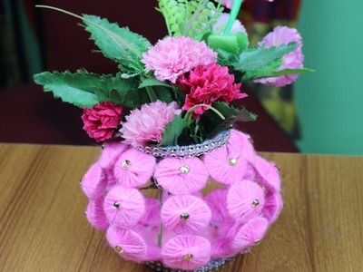 Amazing!!Flower Vase Using Woolen - How to make flower vase - Best out of waste - Woolen Craft ideas