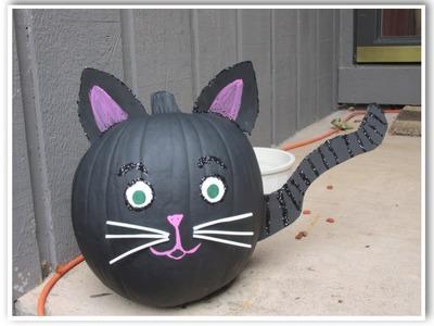 Black Cat Pumpkin Painted for Halloween
