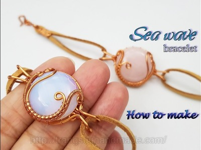Bracelet inspired by sea waves with half round cabochon and leather cord 453