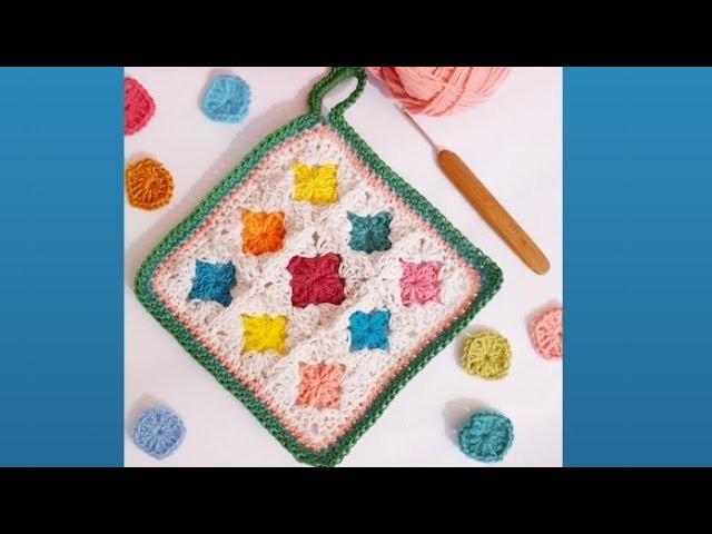 Crochet mini square dishcloth  Tutorial