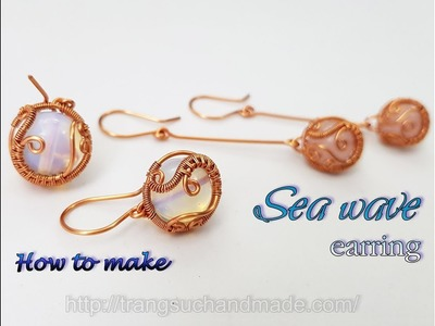 Earring inspired by sea waves with spherical stone - How to make handmade jewelry 451