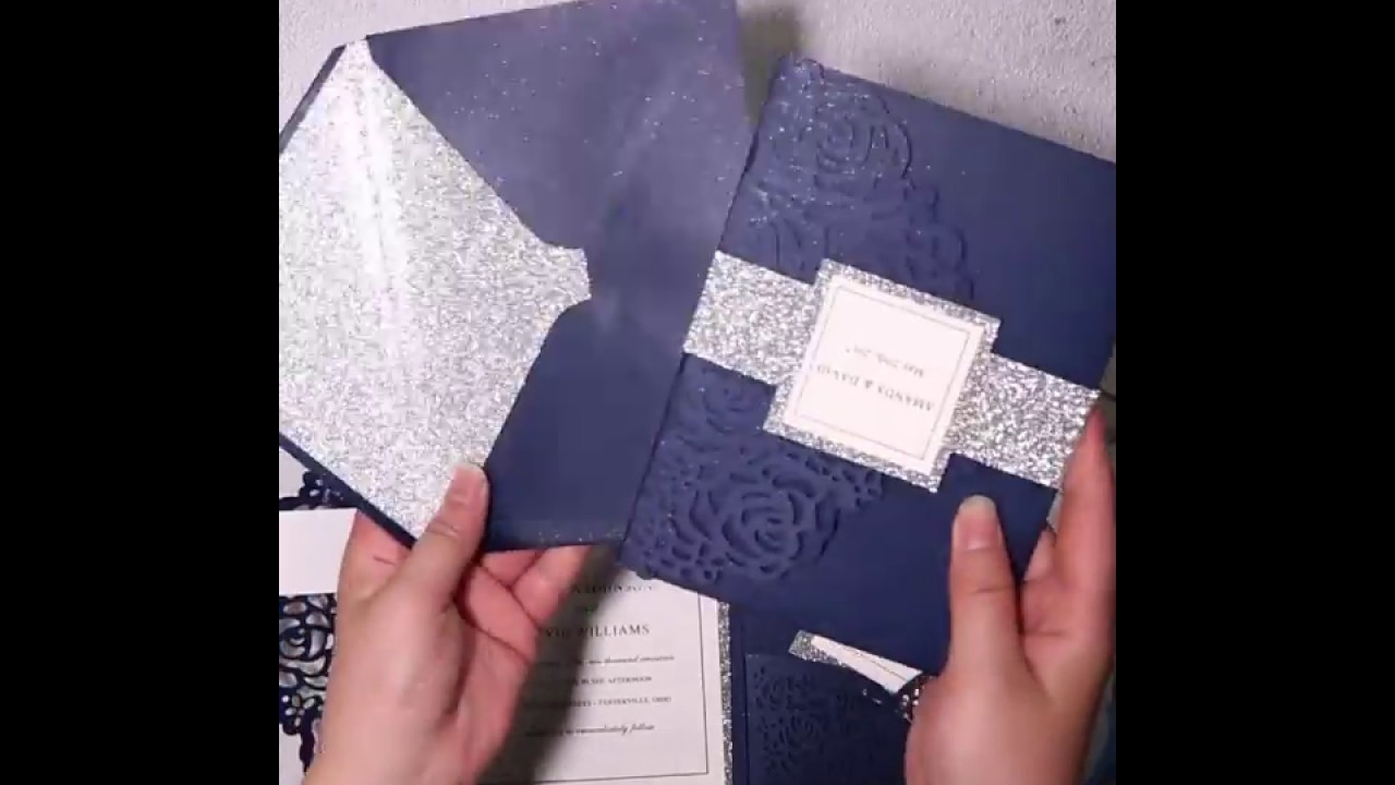 Elegant navy blue rose laser cut pocket wedding invitations with glitter belly bands and tags EWWS18