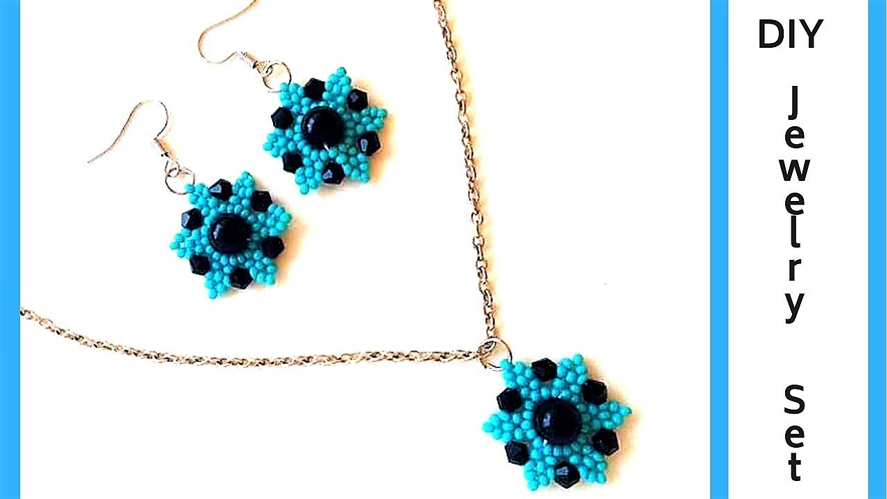 How to make.a jewelry set. DIY jewelry. Beaded earrings. Beaded pendant