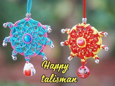 Let this beautiful macrame happy talisman call good airflow to you - Easy macrame tutorial