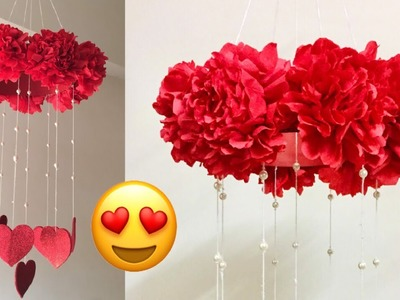 PAPER FLOWER WALL HANGING | WALL DECORATION IDEAS | HEART WALL HANGING  | VALENTINE ROOM DECOR IDEAS