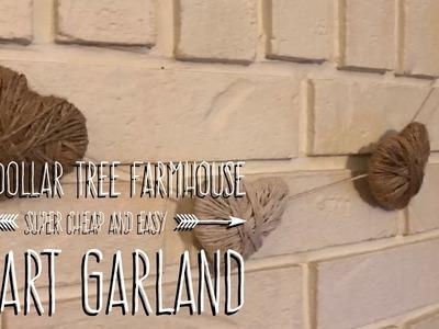 Super Cheap and Easy DIY Dollar Tree Farmhouse Heart Garland