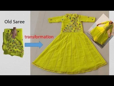 Transform Old Saree to Anarkali baby Dress For 10 Year Baby Girl