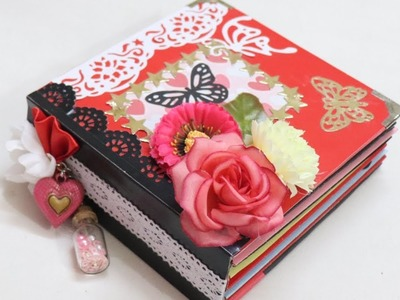 Valentine's Day Scrapbook Tutorial.How to make Scrapbook.DIY Scrapbook Tutorial. Scrapbook Ideas