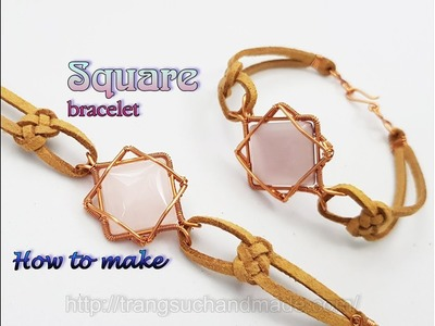 Wire bracelet with square cabochon and infinity knot leather cord - Unisex jewelry 456