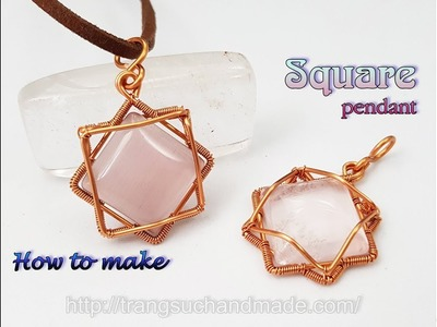 Wire pendant with square cabochon - How to make unisex jewelry 455