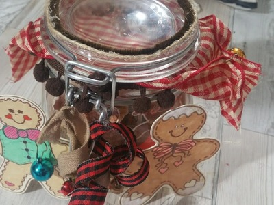 Altered Mason Jar with Shaker top (Gingerbread collab with sheshe crafts)