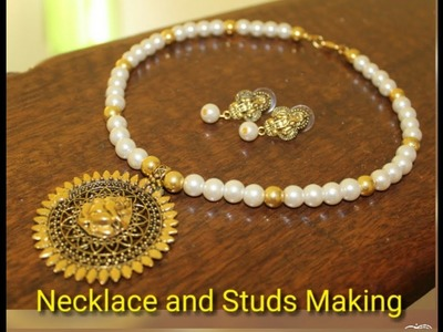 (हिन्दी)Beautiful Necklace and Earrings Making with all Basic Tips.How to make Necklaces and Studs .