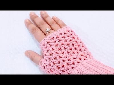 Crochet fingerless gloves  part-1