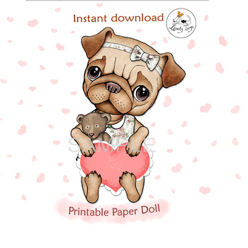 Digital pattern Printable bookmark articulated jointed paper doll puppy Pug Dog lover art Instant download Party decorations decor card gift