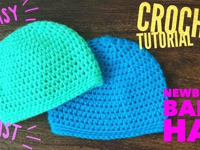 Easy Crochet Baby Hat. Beginner Crochet for Newborn Beanie