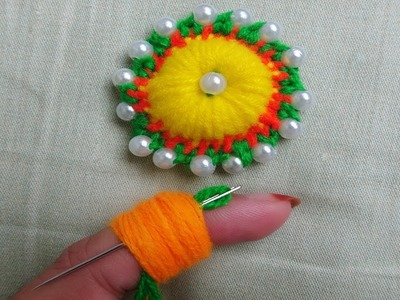 Hand embroidery amazing tricks,#decorative wool embroidery flower with pearl, finger knitting wool f