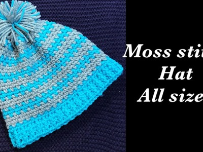How to crochet adult women's or men's moss stitch beanie hat -ALL SIZES  by Crochet for Baby #175