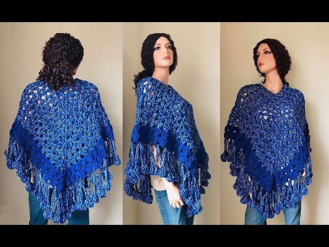 How to Crochet Cluster Stitch Poncho Pattern #892│by ThePatternFamily