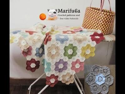 How to crochet easy blanket flower afghan for beginners free pattern tutorial