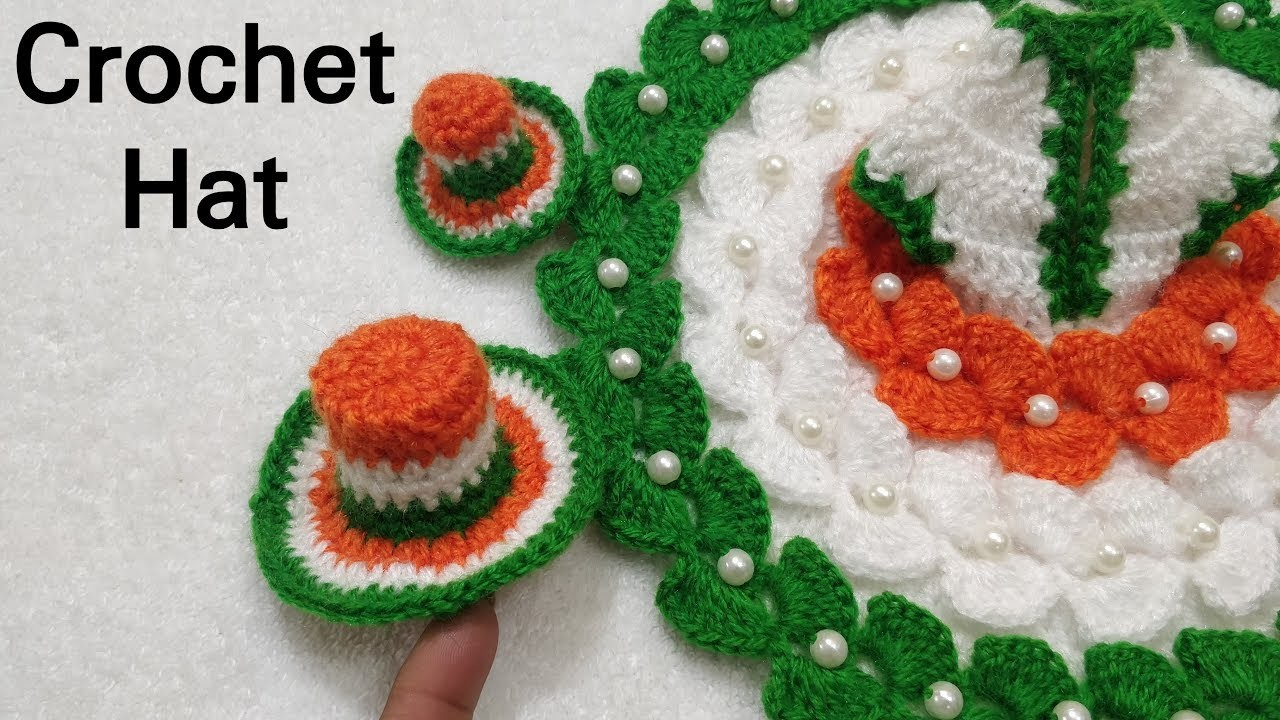 How to Crochet Republic Day Special Dress Hat with Dress no. #57 (all sizes)