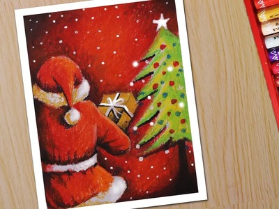 How to Draw scenery santa  Christmas drawing and painting