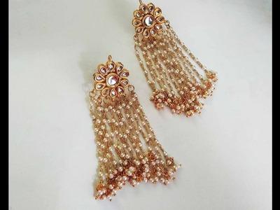How to make designer kundan pearl chain tassel bridal earrings at homeIndian jewelry making tutorial