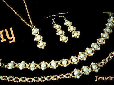 How to make jewelry at home.  Bride jewelry. DIY elegant jewelry set.