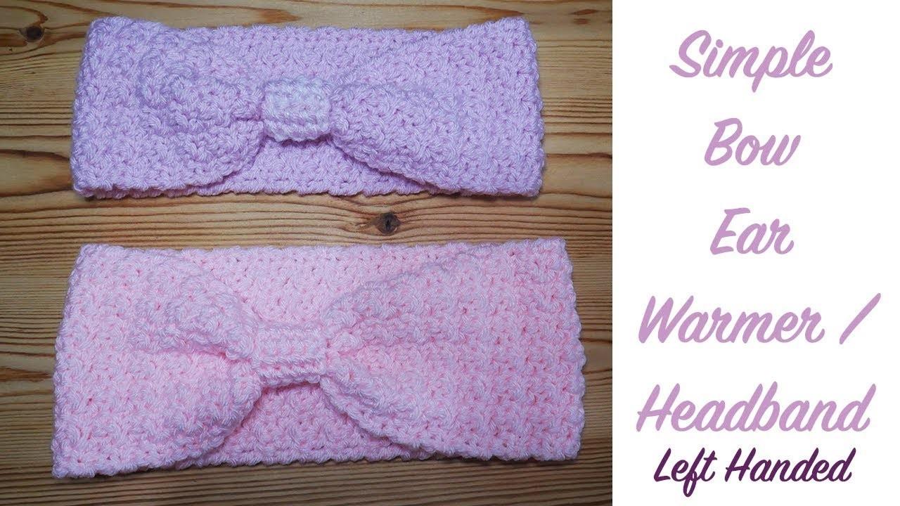 Left Handed Crochet Bow Ear Warmer Headband Beginner