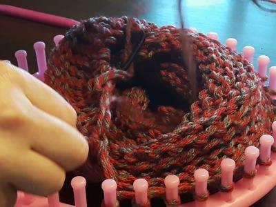 Loom knit messy bun hat cast off