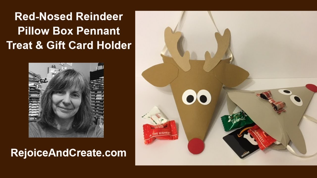 Reindeer Pillow box Pennant Treat and Gift Card Holder