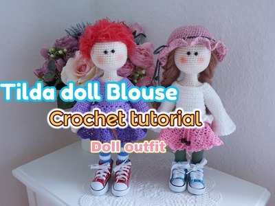 Tilda doll blouse crochet. Large doll outfit