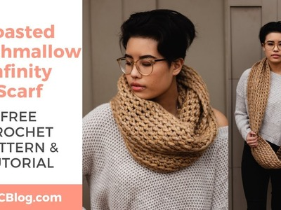 Toasted Marshmallow Infinity Scarf *FREE CROCHET LOOP SCARF PATTERN W. STEP-BY-STEP TUTORIAL*