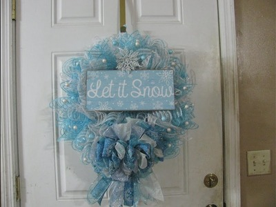 White and blue, let it snow wreath with a 5 ribbon bow