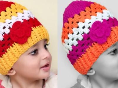 WOW !! Super Easy Crochet Woolen baby Cap || Woolen crochet Hat || Tutorial Easy Crochet Hat