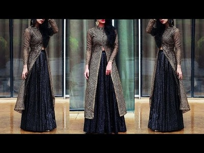 DIY Designer Long Jacket Style Kurti For Lehenga Full Tutorial