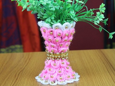 DIY Flower Vase | How to make flower vase - Best out of waste - Woolen Craft idea - Home decor Ideas
