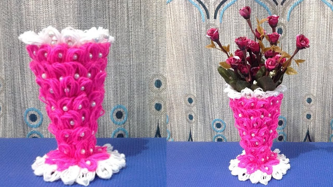 DIY Flower vase making. How to make flower vase out of wool