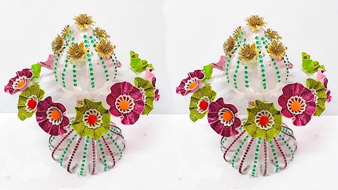 DIY-Guldasta from plastic bottle & glitter sheet at home | DIY Foam Flower Guldasta