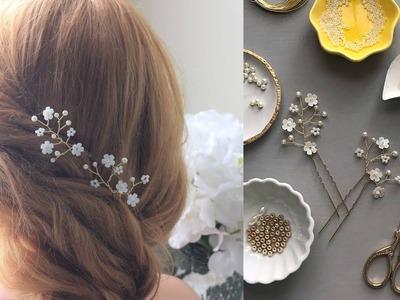 Easy TUTORIAL Hair Spray with Beads and Tiny Flowers - Hair Pins Accessory DIY