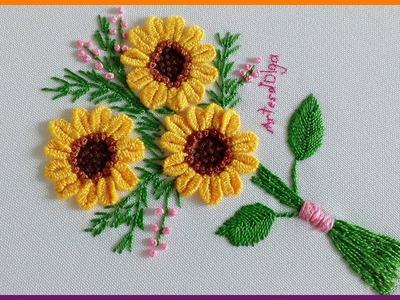 Hand Embroidery: Buttonhole Bar Sunflowers | Bordado a Mano: Girasoles en Puntada Barra de Ojal