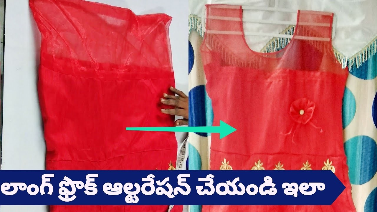 How To Alter The Long Frock    Resizing The Dress By Cutting And Stitching,Boat Neck,Hands