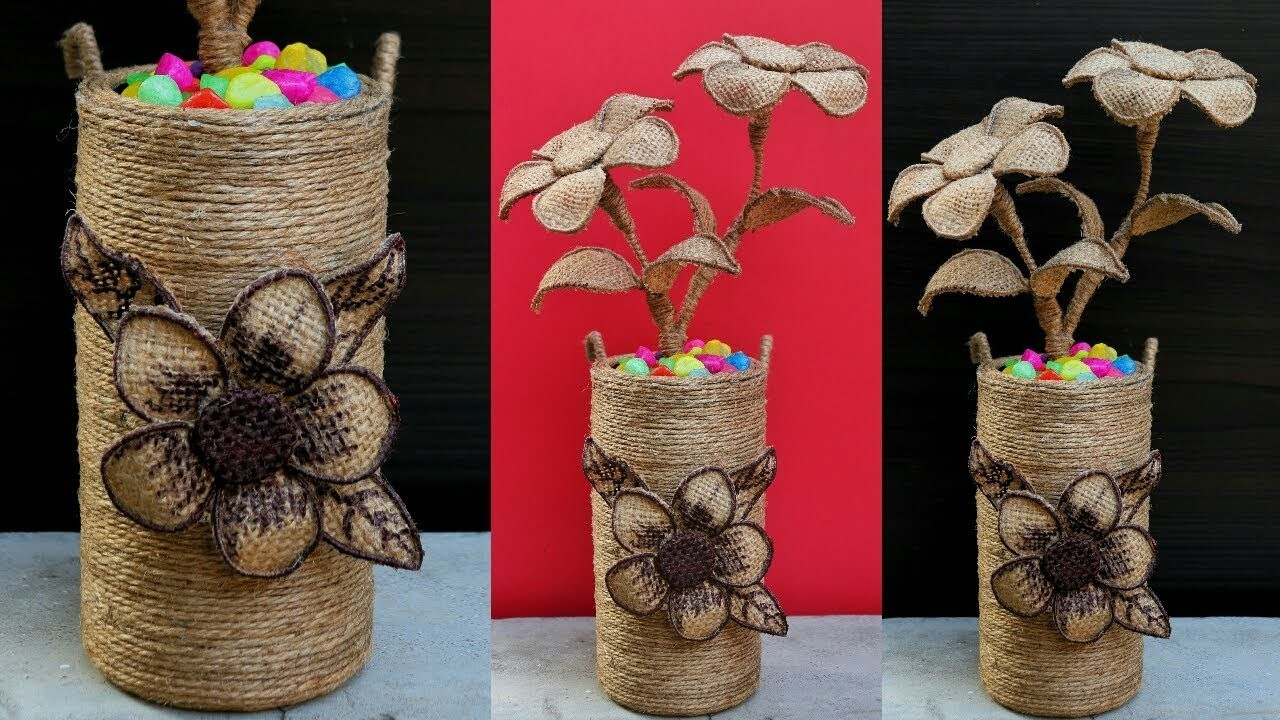 How to make decorative Jute flower vase | DIY Jute Flower Pot | Best out of waste Idea Using Jute
