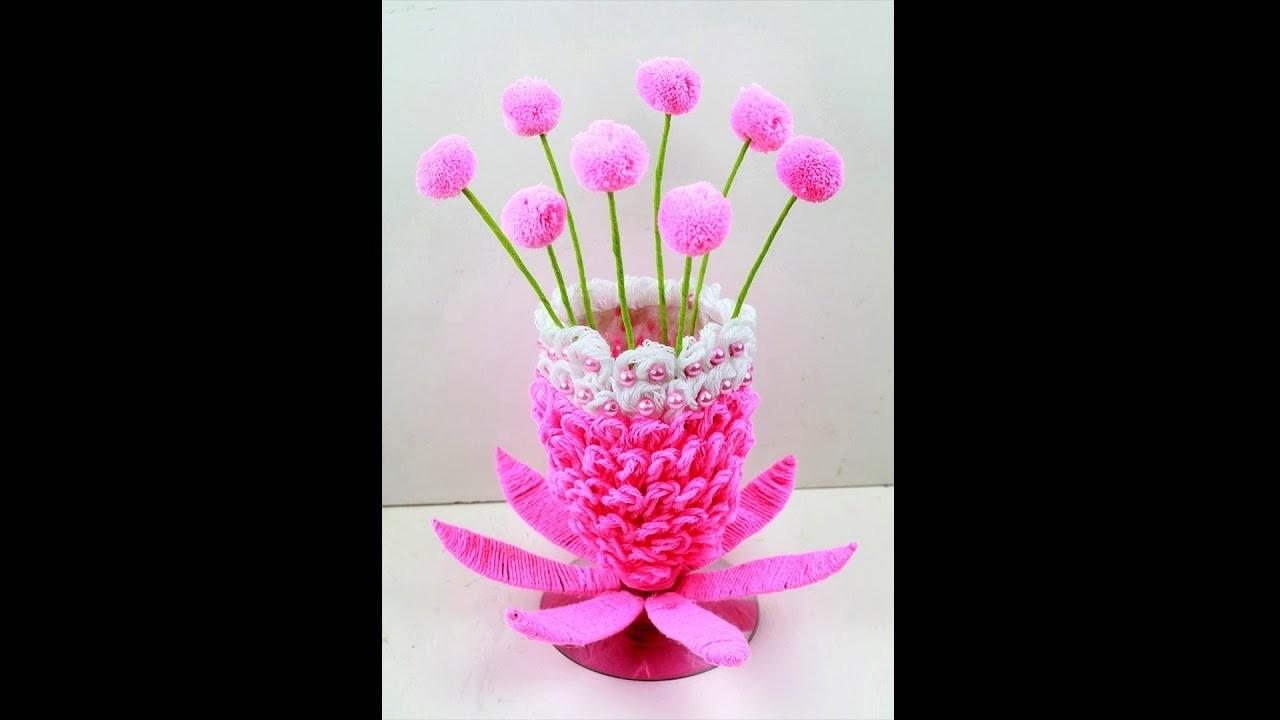 How to make Flower Vase with Wool   plastic bottle flower vase