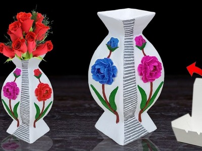 Newspaper Stylist flower vase at home || Flower vase making at home