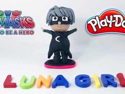 PLAY DOH PJ MASKS 3D LUNA GIRL (How to Make Pj Masks Luna Girl with Play Doh)