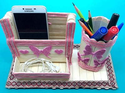 Popsicle Sticks, Mobile Phone  And Pen, Pencil Holder l Do It Yourself